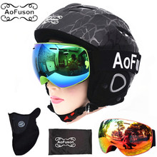 все цены на Snowboard Ski Helmet with Anti-fog Ski Goggle Integrally-molded Breathable Helmet Double Layers Big Vision Skiing Goggle Glasses онлайн