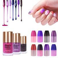 BeautyBigBang 8 bottles 2018 Temperature change Nail Polish Glitter changing color Nail Lacquer Varying nail polish set