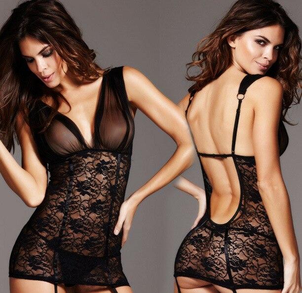 Sexy Dessous Schwarzer Spitze Solid Polyster Transparent Trend Kleid, G String, Strumpfband Gesetzt
