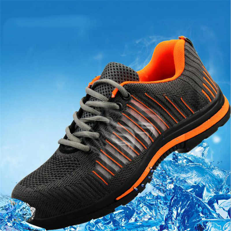 Nam Mũi Thép An Toàn Làm Giày Lưới Nhẹ Thoáng Khí Cho Giày Sneaker Ngăn Ngừa Xỏ Giày Bảo Hộ Cao Cổ
