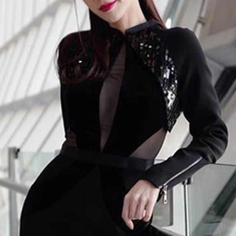 INDRESSME 2019 Новый Для женщин сексуальный черный бандаж платье женская футболка с длинными рукавами и блестками со стоячим воротником до колена Длина вечерние платье Леди Мода сетки