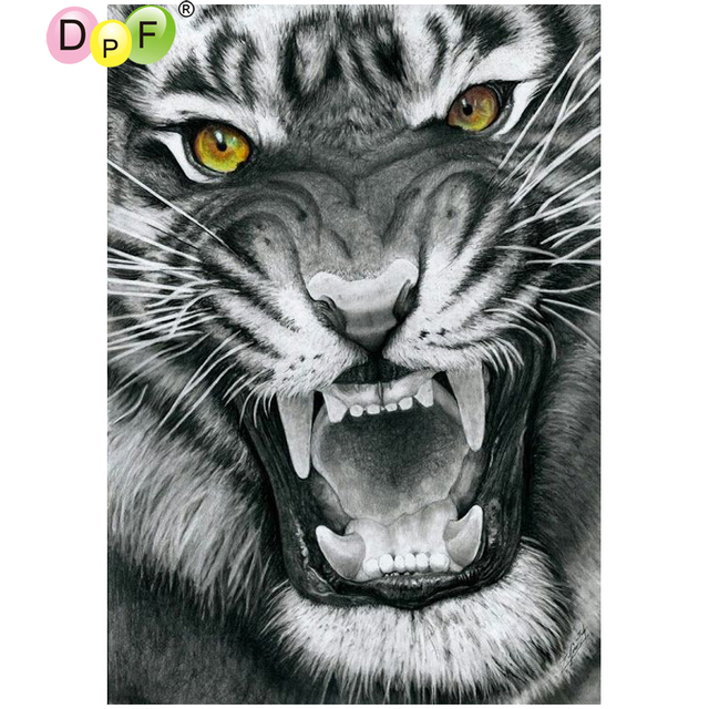 Dpf Black And White Tiger 5d Diamond Painting Cross Sch Home Decor Mosaic Square