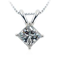 TN201 2CT sona Synthetic Gem Princess cut Necklace Wedding Pendant Necklace For Women