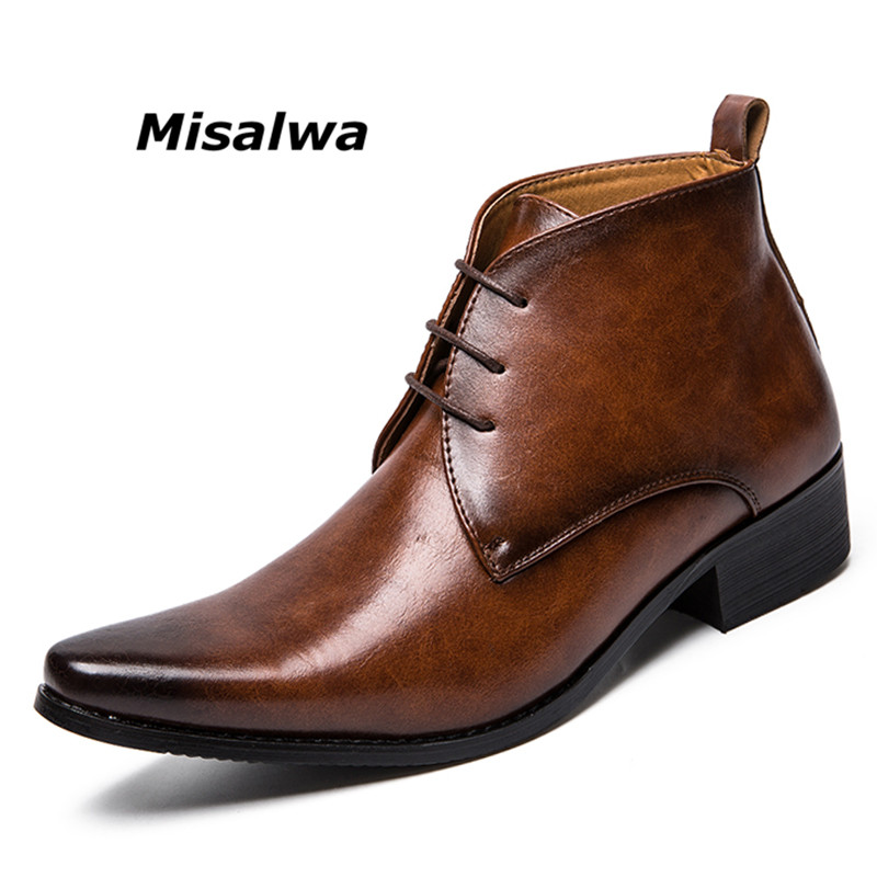 Misalwa Christmas Luxury Men Business Dress Boots Lace Up Vintage Brand Pointed Toe Brown Chelsea Boots