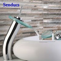 Frete grátis senducs top chrome bacia banheiro sink faucet cachoeira torneira com boa qualidade para a bacia de vidro torneira