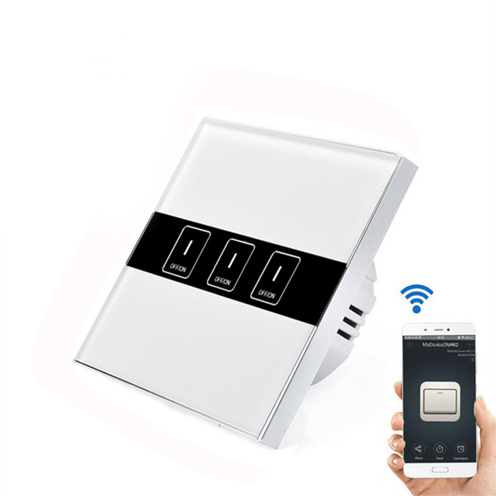 EU Wireless Wi-Fi Wall Light Touch Switch Remote Control Panel On/Off Sensor Alexa Board with iPhone Android App 315 433mhz 12v 2ch remote control light on off switch 3transmitter 1receiver momentary toggle latched with relay indicator