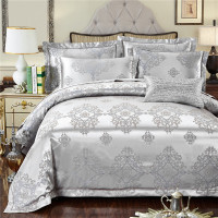 Purple Jacquard Silk cotton Bedding Set Luxury 4pcs Satin Bed Sets Duvet Cover King Queen Bedclothes Bed Linen Pillowcases