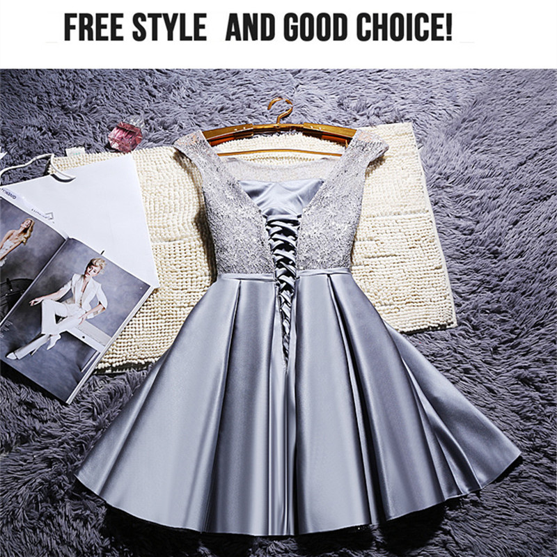 Image 5 - YRPX XB#Lace up new Champagne bridesmaid dresses plus size 2019 summer short grey red bride wedding party gown wholesale dress-in Bridesmaid Dresses from Weddings & Events