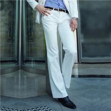 2019 Micro-horn trousers Male Business White straight Wide-leg Suit pants British Casual Mens big