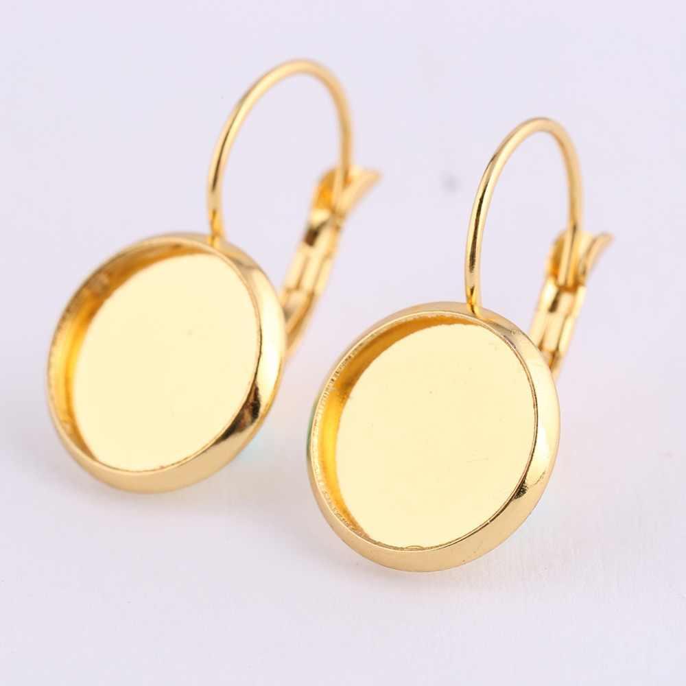 Reidgaller 10 pcs rose aço inoxidável ouro alavanca para trás achados brinco 12 milímetros bisel configurações cabochão brinco base de blanks diy