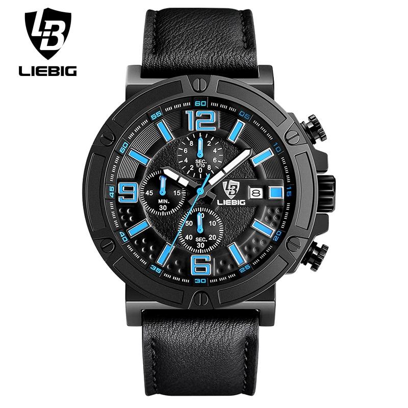 LIEBIG Men Military Quartz Wristwatches Stopwatch Calendar Waterproof Sports Watches Blue Commander Relogio Masculino ZHG161013
