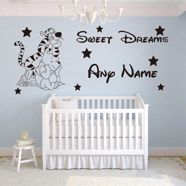 Creative cute Winnie the Pooh Custom Kids Name baby wall stickers ...