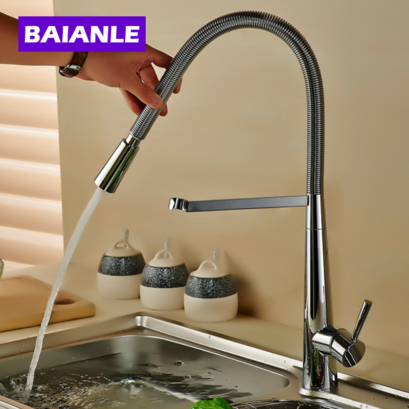 Free Shipping New design Brass Kitchen Faucets Hot and Cold Water Chrome Basin Sink Taps Mixers