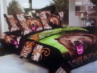 Ours loup tigre coton 3D Animal literie ensemble Cool 100% coton huile impression housse de couette ensemble drap de lit taie d'oreiller reine roi 4 pièces