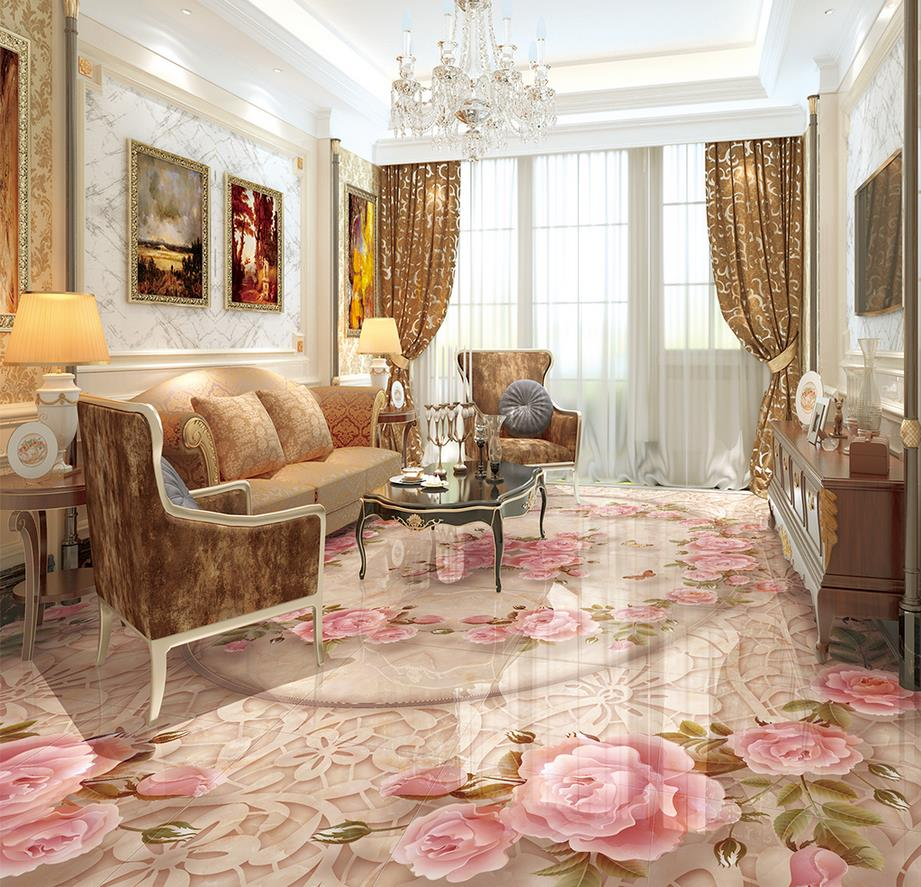 Chinese 3d Floor Marble Relief Lace Flower Tiles Wallpaper