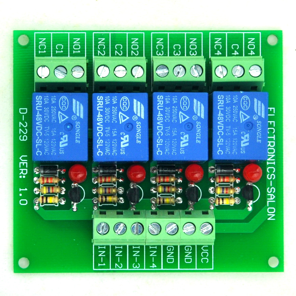 Four(4) SPDT 10Amp Power Relay Module, DC48V Version, For PIC / 8051