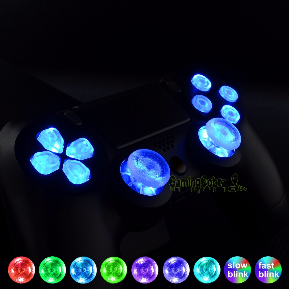 Multi-colors Luminated D-pad Thumbsticks Face Buttons (DTF) LED Kit For PS4 Pro Slim Controller 7 Colors 9 Kits Touch Control