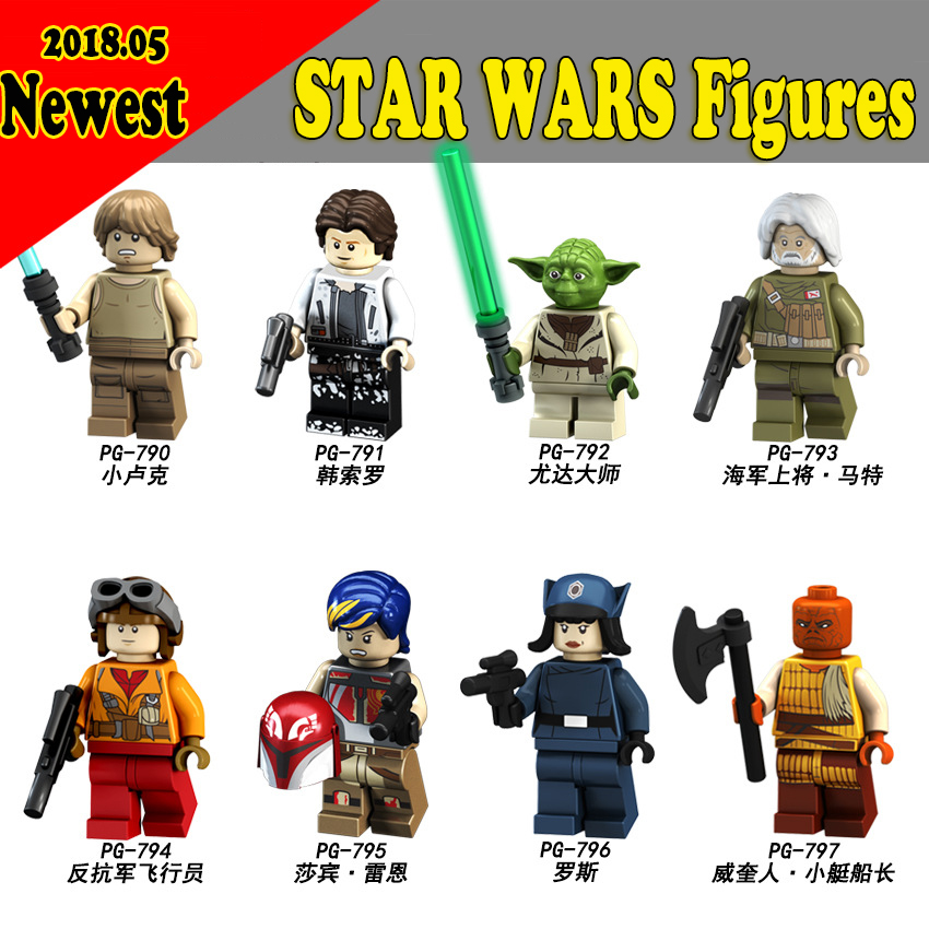 For Star Wars Figures Starwars Yoda Luke Han Solo Rebel Pilots Sabine Wren Leia Starwars Self Bricks Building Blocks Toys 75208