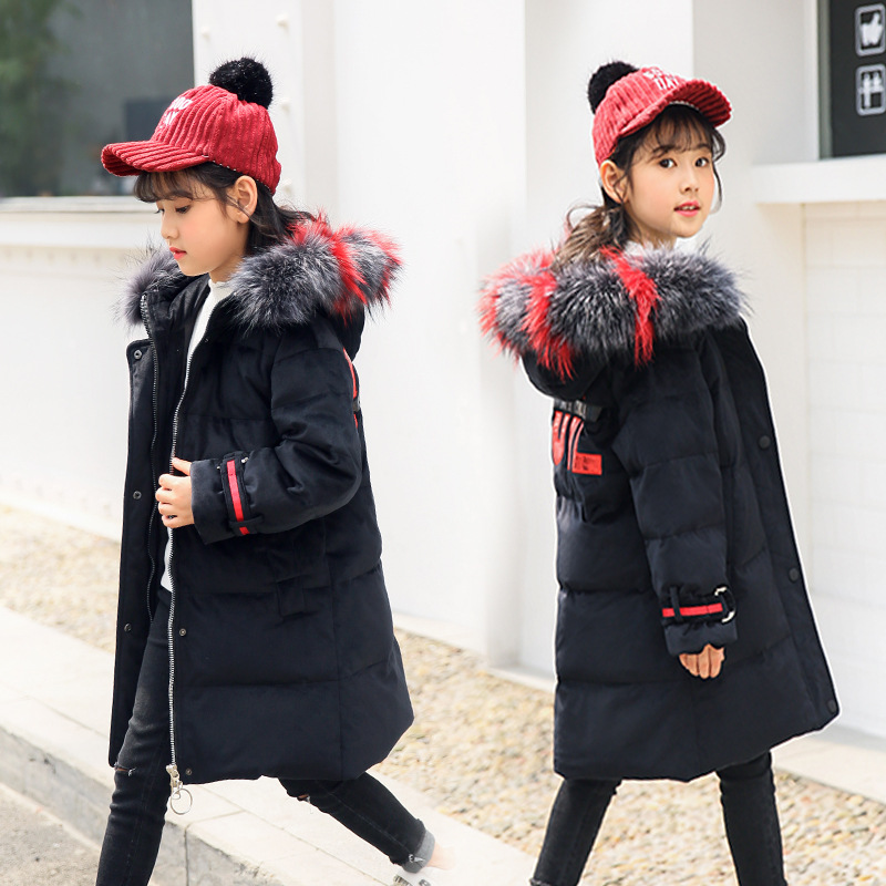 Kids down jacket girls long sleeve long fashion hooded 2018 new Korean version of the female big girl girl thick winter coat 2018 new girls in the winter of the south korean version of the thick down jacket with a long coat in the hair collar and jacket