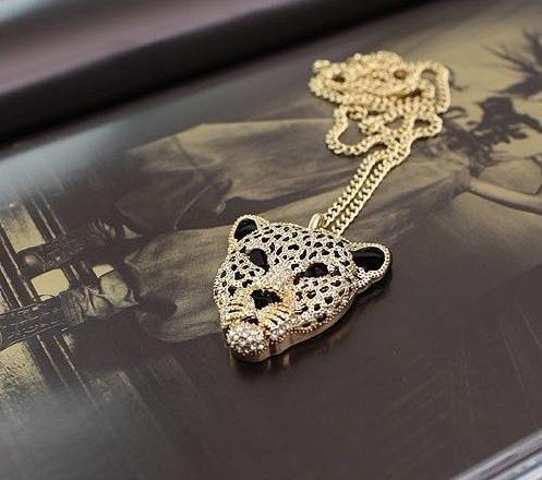 Ожерелье с тигром, стразы, голова леопарда, винтажные подвески для ожерелий, ретро длинное ожерелье, Женские Ювелирные изделия