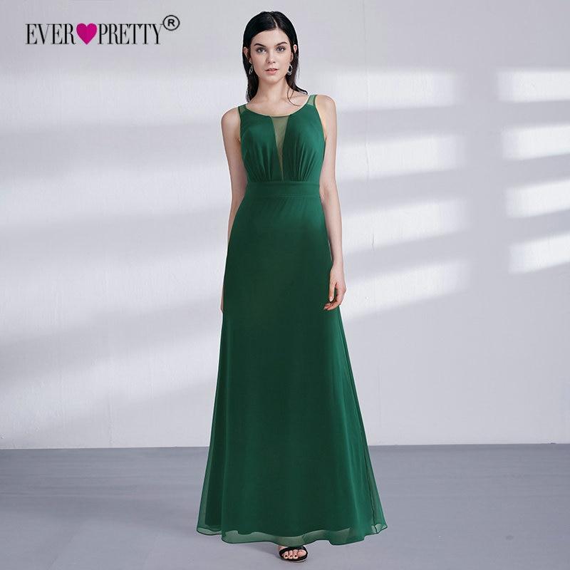 Длинное вечернее платье 2018 Ever Pretty EZ07477DG элегантное темно-зеленое платье трапециевидной формы с вырезом Формальные Вечерние платья Длинные ...