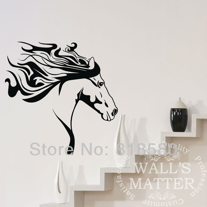 free shipping home decor large horse running wall art self adhesive