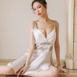 Image 3 - חדש נשי סימולציה משי עמוק V צוואר סקסי שינה לילה שמלה אלגנטית Homewear ארוך כתונת לילה הלבשת נשים Nightwear