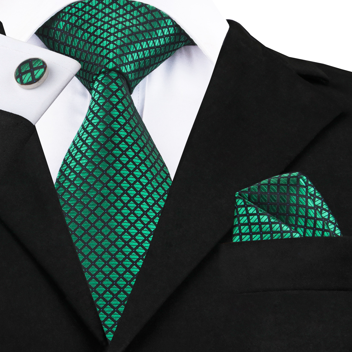 SN-1608 Hi-Tie New Plaid Green Tie Hanky Cufflinks Set Fashion Mens High Quality Silk Jacquard Gravatas Mens Corbatas