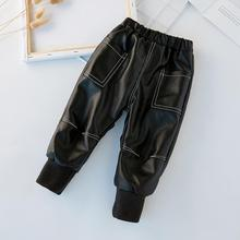 2a3614615 Children's Clothing Leather Pants Pu Trousers Boys Girls Pants Plus Velvet  Pencil Pants Fashion Thicker Warm