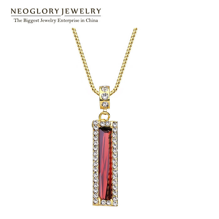 Neoglory Austria Rhinestone Light Yellow Gold Color Red Zircon Necklaces Pendants for Women Brand Charm Jewelry 2017 CLE QC2