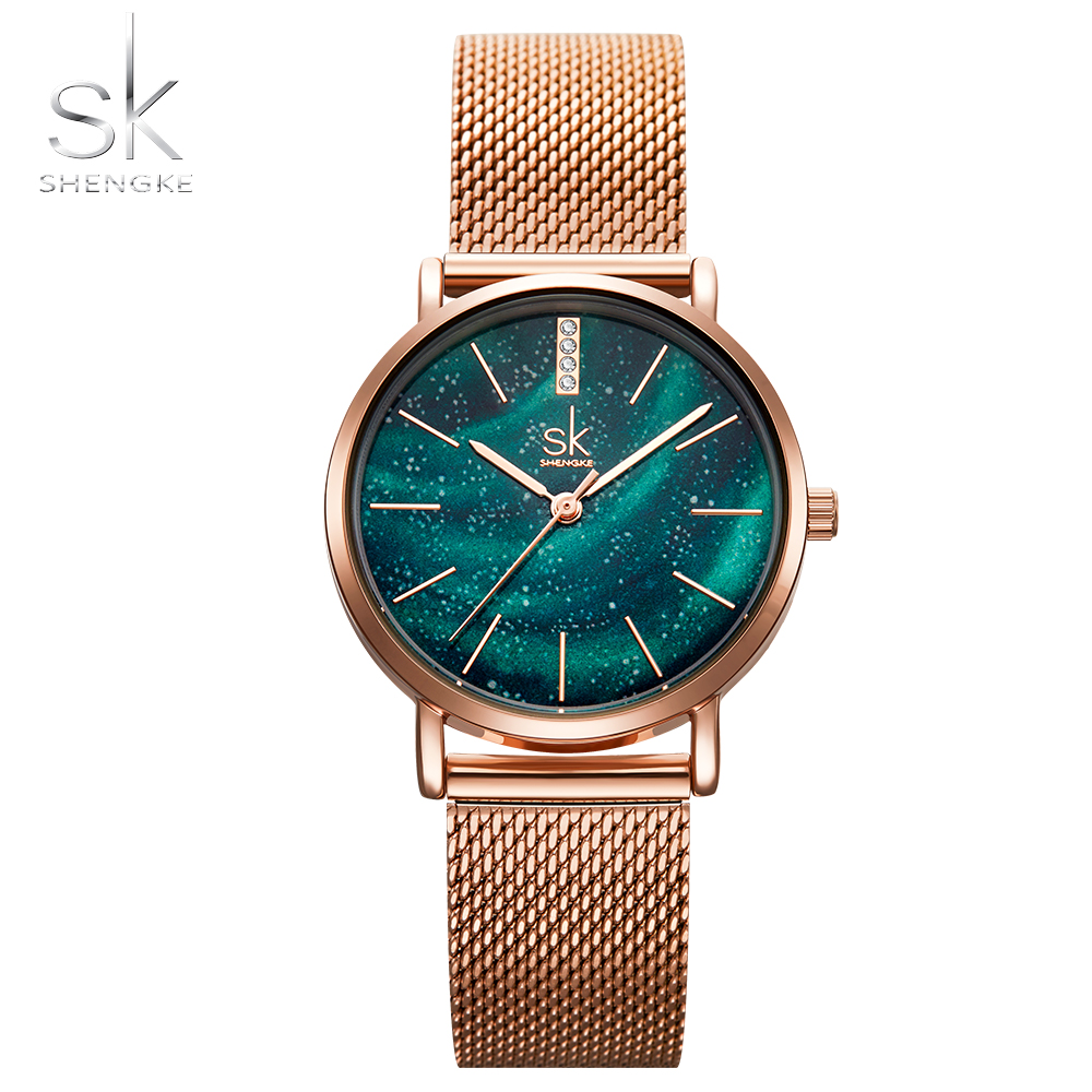 Shengke Women Rose Gold Watches Romantic Starry Ladies Wristwatch Ultra-thin Mesh Female Quartz Movement Clock Montre Femme 2019