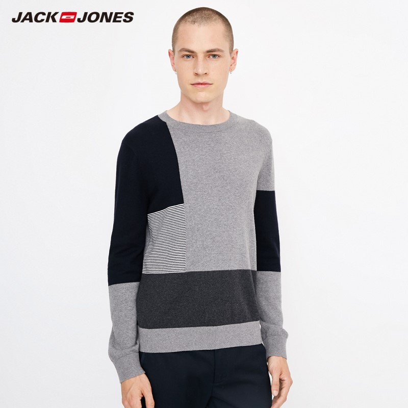 JackJones Men's Comfortable Cotton Color Block Stitching Casual Sweater Top Menswear Style 218324524