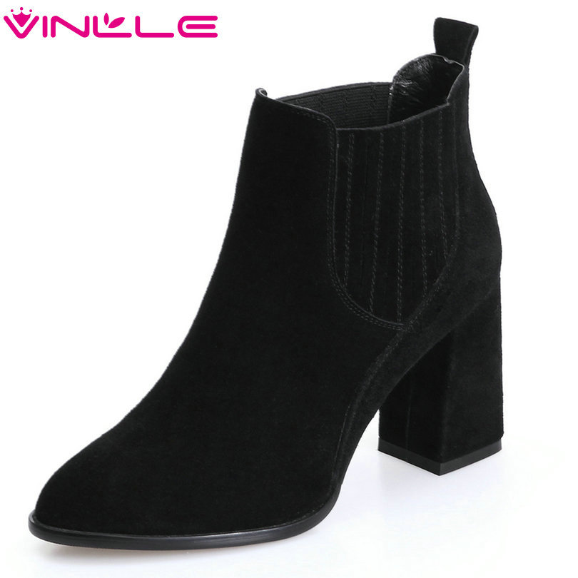VINLLE 2018 Women Boots Ankle Boots Square High Heel Slip On Western Style Cow Suede Ladies Motorcycle Shoes Size 34-39 vinlle 2018 women boots shoes ankle boots square high heel round toe slip on beige ladies motorcycle shoes size 34 43
