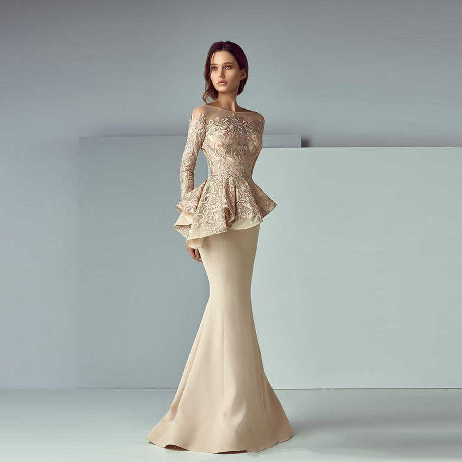 7204cf6ef42 Ливан Sheer Вечерние платья Русалка Vestido de festa элегантное вечернее  платье с баской длинные Вечерние платья