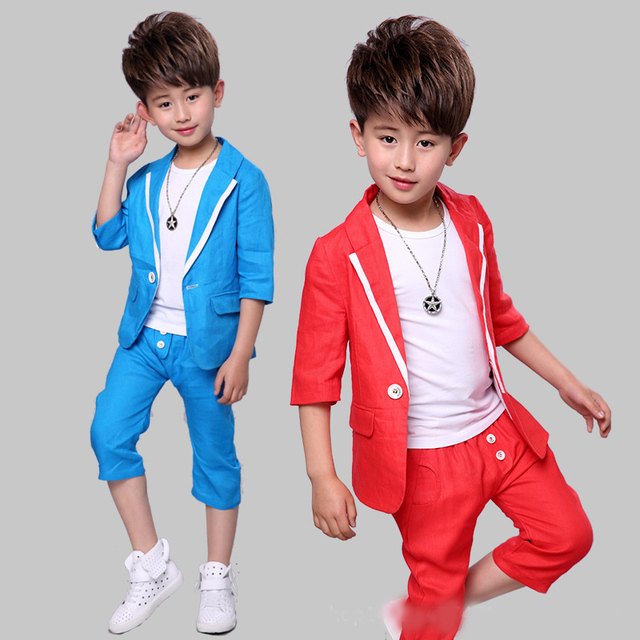 2a7341e094778 Boy short sleeve suit 2017 summer new children's dress cotton linen suit  three-piece suit