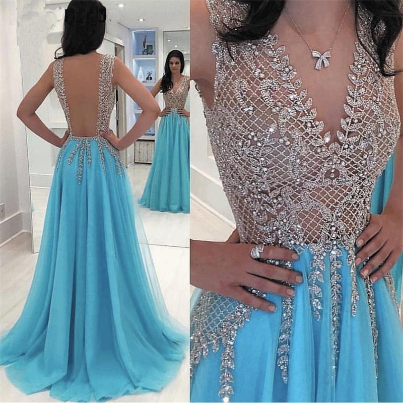 Sky Blue Deep V Neck Beaded   Prom     Dresses   2020 Vestido De Festa Blue Chiffon Backless   Prom   Gown