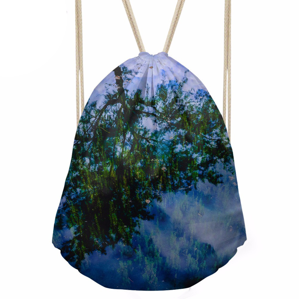 Drawstring Bag Women s 3D Leaves Printing Daypck Females Small Travel Package for Kids Packing Bags