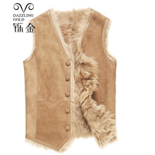 100 High Quality Real Sheepskin Fur Men Coat Genuine leather boy waistcoat Natural sheepskin true wool fashion waistcoat cheap Leather Suede Single Breasted Sleeveless REGULAR Thick V-Neck NONE Solid Casual
