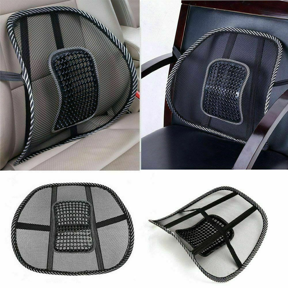Lumbar Back Support Spine Posture Correction Cushion For Car Seat Office Chair Black Mesh Vent Cushion