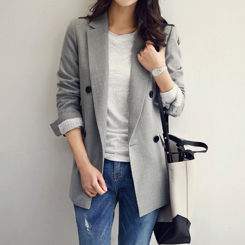 Spring And Autumn The New Leisure Suit Women Long-sleeved Jacket Slim Suit (black And Gray Two-color Optional)