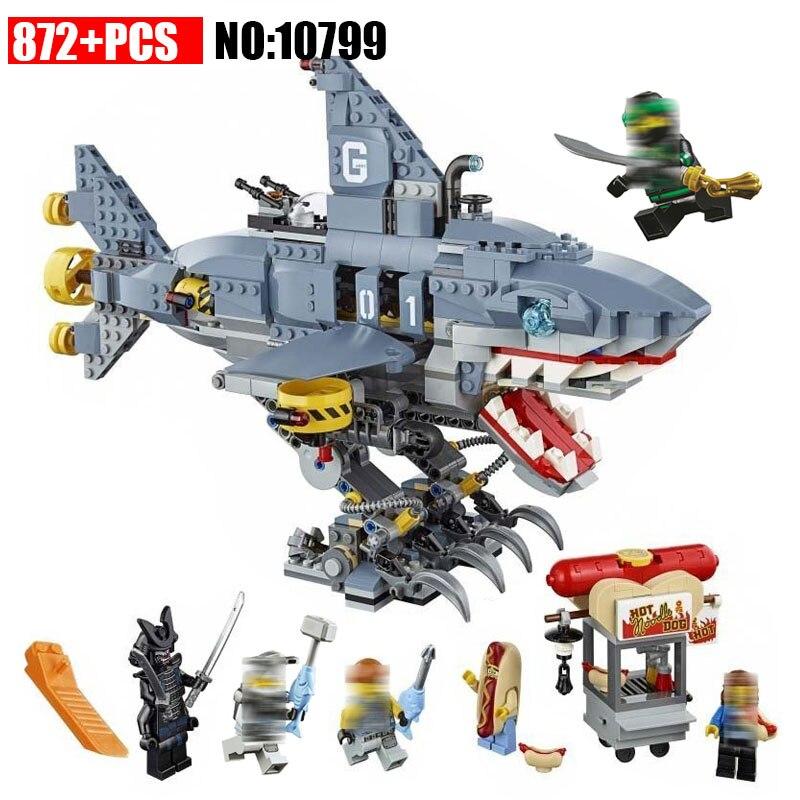NOUVEAU 10799 Film Ninja blocks set 872 pcs Gamma requin transporteur Apprentissage DIY Briques compatible avec 70656 Jouets Pour Enfants