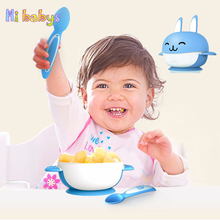 New Baby Tableware Cartoon Children Tableware infant Dishes Baby Plate with Spoon Kids Feeding Dishes Babies Feeding Bowl