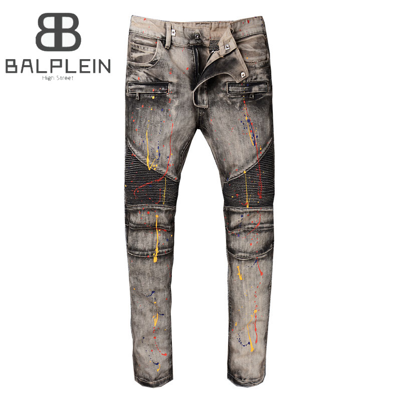 Gray Color Paint Dirty Program Fashion Mens Jeans High Street Spliced Motor Jeans Homme Balplein Brand Destroyed Biker Jeans Men tom tailor блузка tom tailor tom tailor 1023694 00 71 2buy оранжевый m