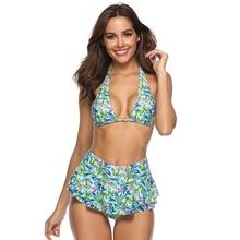 Купить с кэшбэком Sexy Green Plus Size Skirt Swimwear Women Two Piece Push Up Swimsuit Beachwear Tankini Set Dress Retro Bathing Suit Monokini