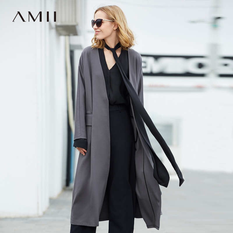 Amii Women Minimalist 2018 Autumn   Trench   Coat Thin Chic Office Lady High Quality Original Design Female   Trench   Coats