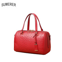 SUWERER 2019 New Superior cowhide women genuine leather bags Embossed ostrich pattern Fashion Boston bag tote