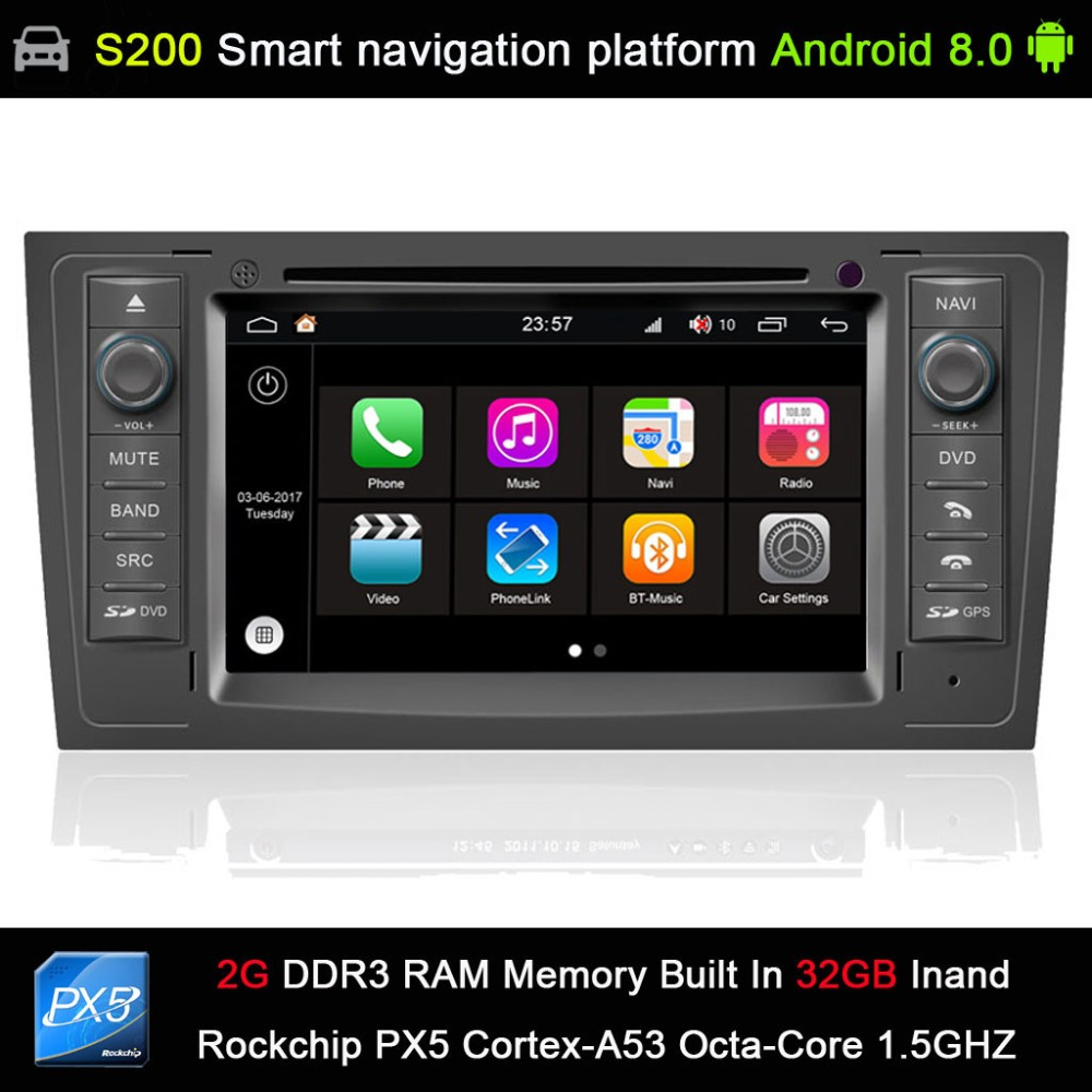 Android 8.0 system PX5 Octa 8 Core CPU 2G Ram 32GB Rom Car DVD Radio GPS Navigation for Audi A6 1997 2004