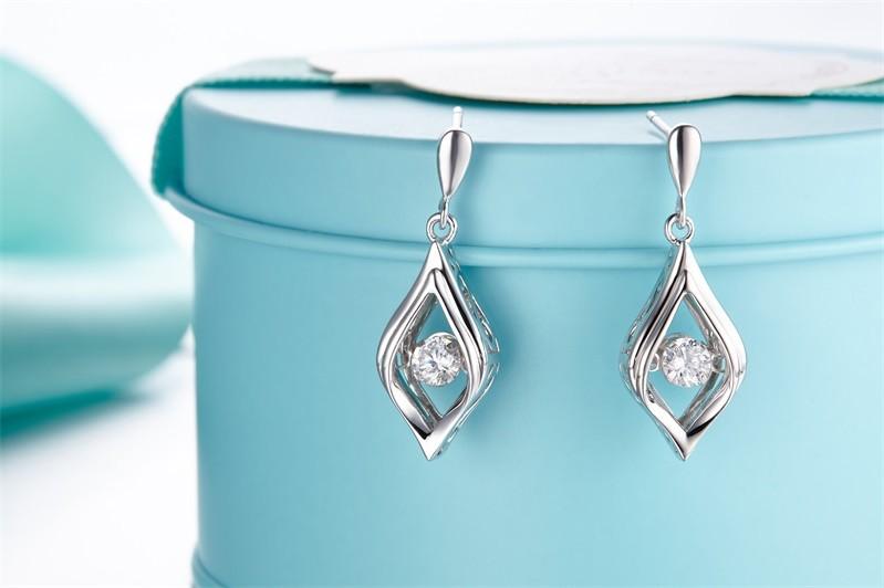 Double Sided Crystal 925 Sterling Silver Stud Earrings Women Fine Jewelry Cubic Zirconia Korean Fashion,925-sterling-silver-jewelry (3)