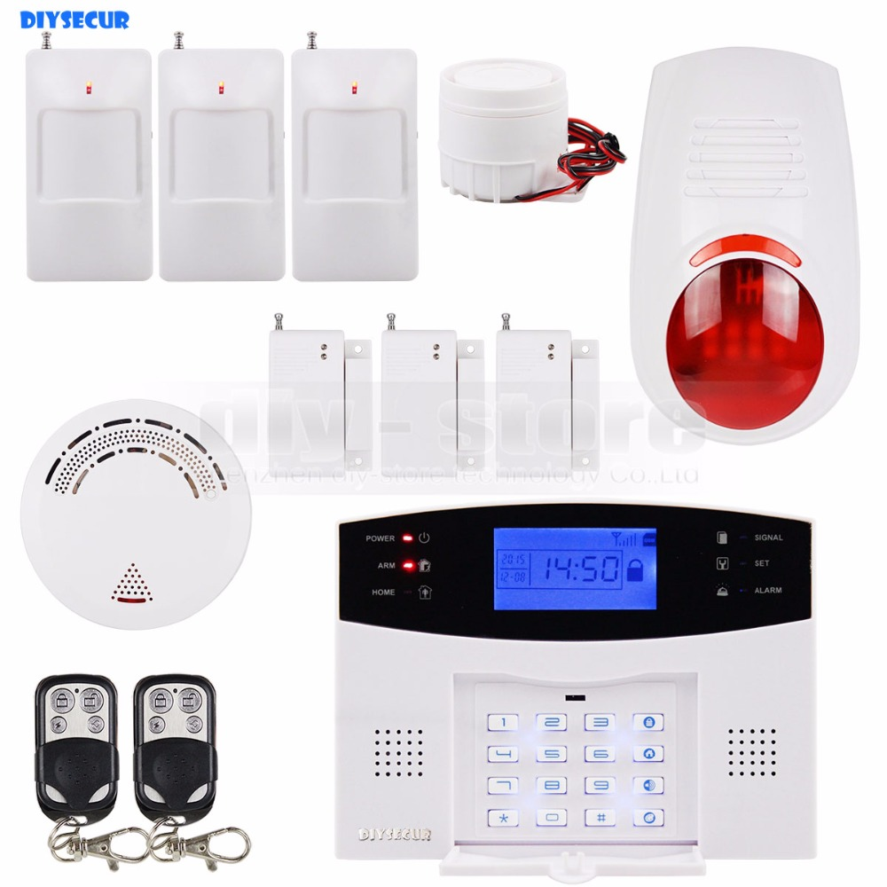 DIYSECUR 433MHz Wireless & Wired GSM SMS Home Security Alarm System Kit + 3 PIR Motion Sensor + Smoke Sensor + 2 Remote Control 433mhz dual network gsm pstn sms house burglar security alarm system fire smoke detector door window sensor kit remote control