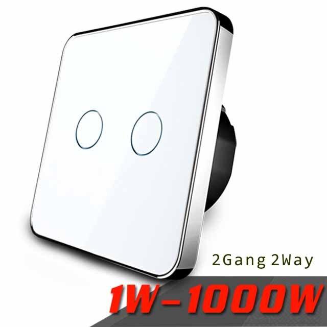 Fabricant, Jiubei Tactile Standard de L'UE Switch, 2 Gang 2 Way Contrôle, 3 Couleur Panneau Verre Cristal, mur Interrupteur, C702S-11/12/3